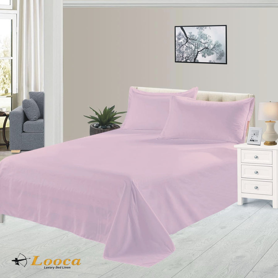 Luxury Quality Plain Dyed Pink Flat Sheet