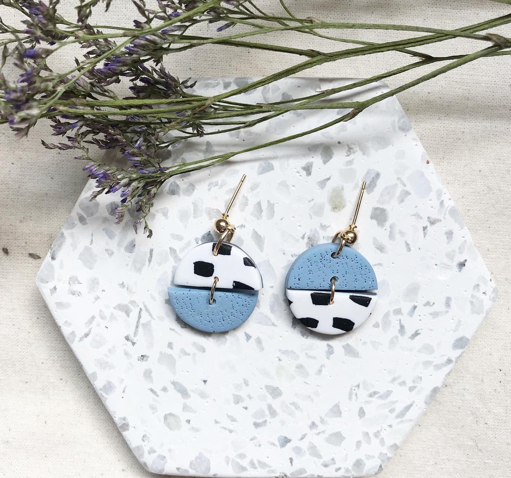 Little Round Mismatched Dangles Earrings/Blue