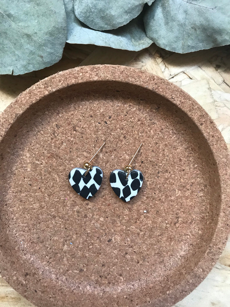 Abby Little Heart Earrings/Cow Print
