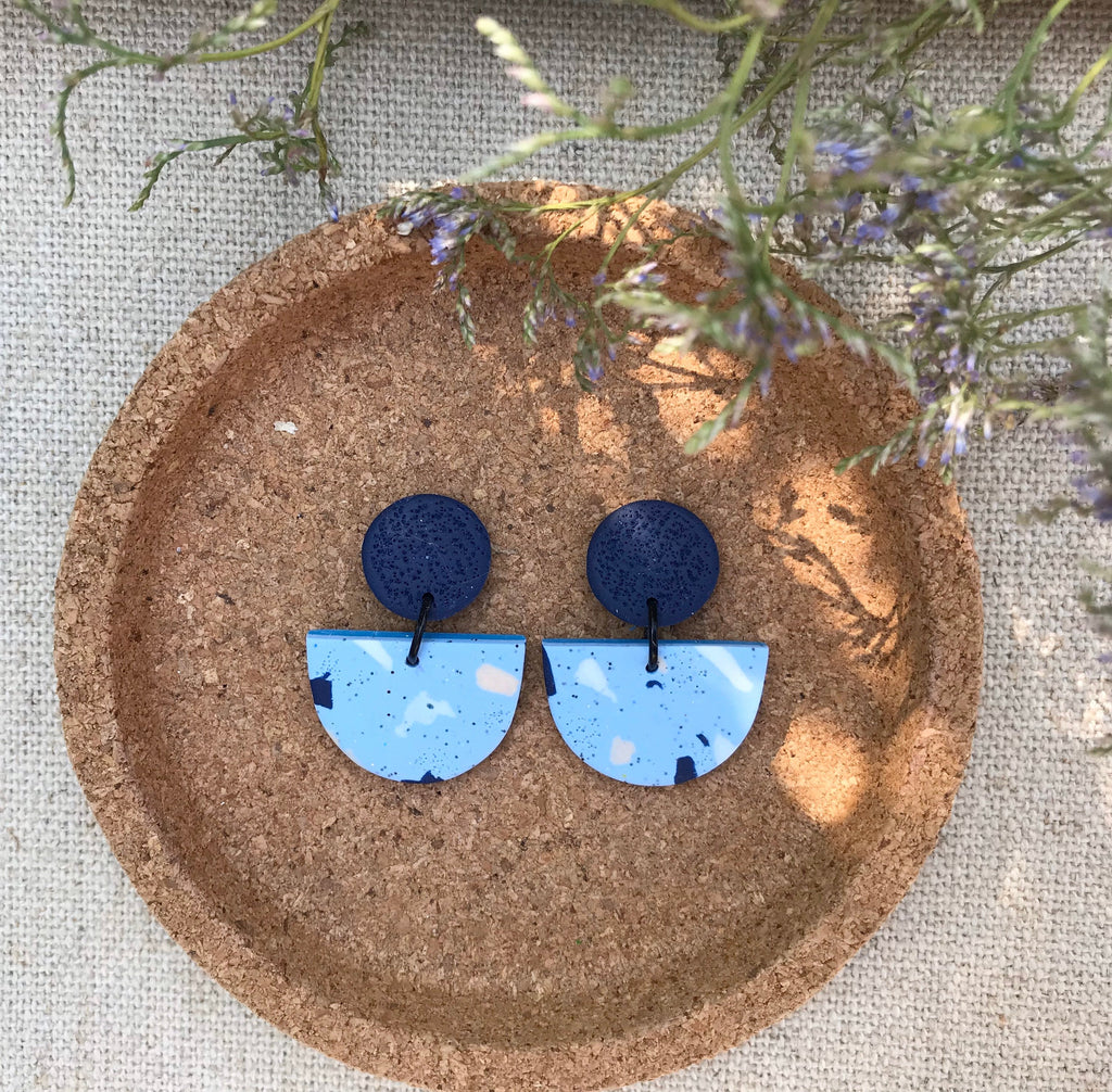Blue Terrazzo Effect Statement Earrings