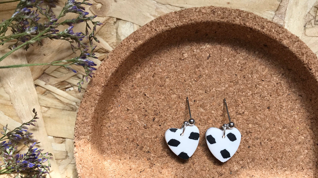 Abby Little Heart Shaped Earrings/ Dangles Earrings/White and Black Sprinkles