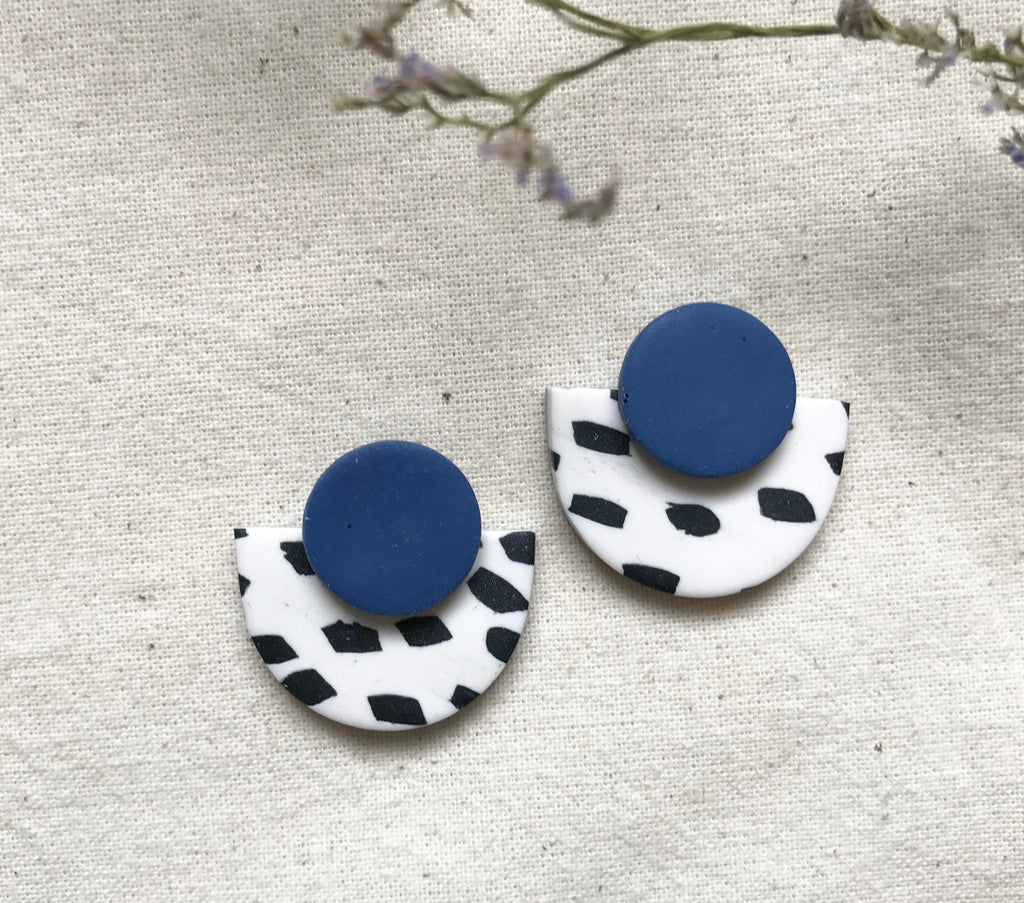 Dalmatian Print Studs Statement Earrings / Royal Blue and Black