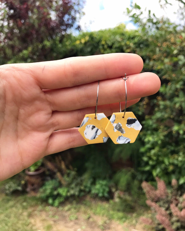 Scattered Marble Hexagon Hoop Earrings/ Mustard