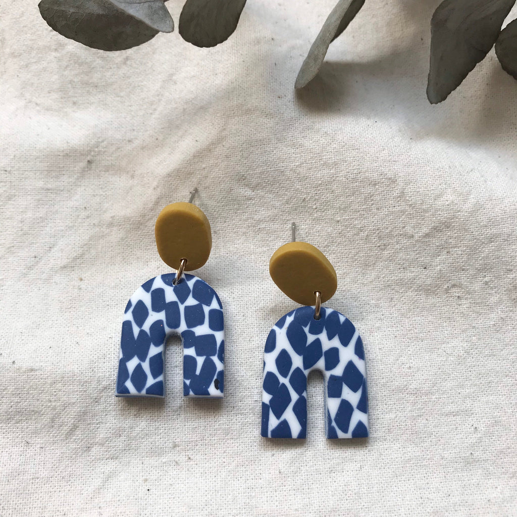 Arches Confetti Design Dangles Earrings/ Navy and Mustard