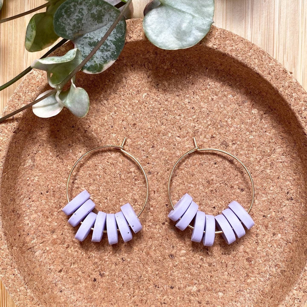 Cute 'Sweeties' Hoop Statement Earrings/ Palma Violet