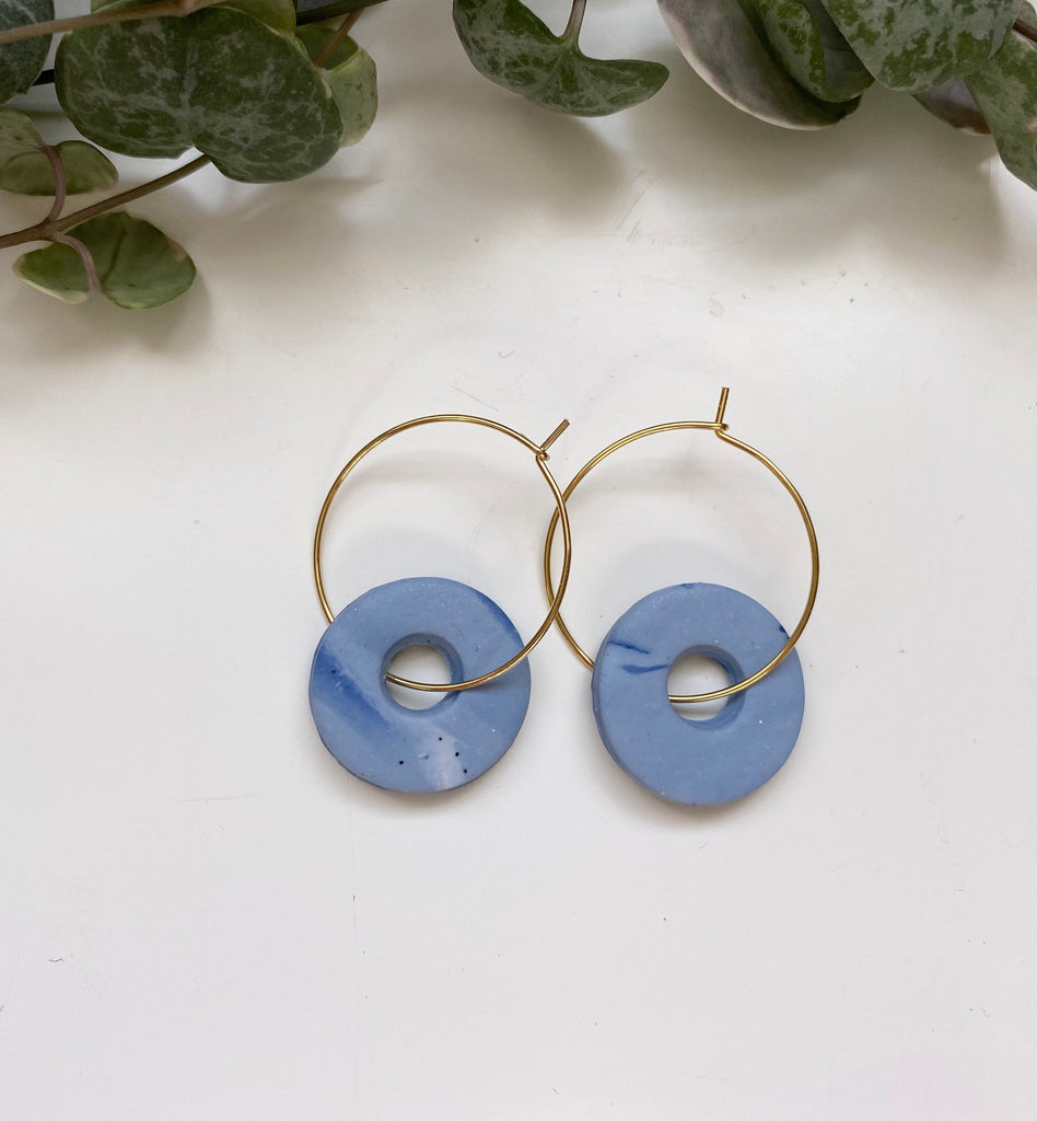 Marble Design/ Statement Hoop Earrings/ Blue