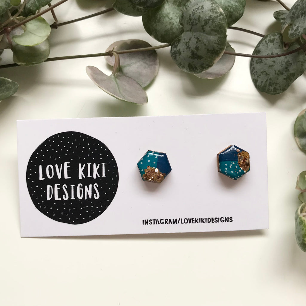 Teal and Gold HEXAGON Earrings / Small Wooden Resin Earrings