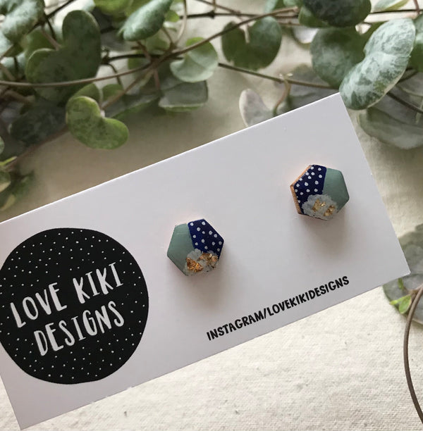 Navy and Sage HEXAGON Earrings / Small Wooden Resin Earrings
