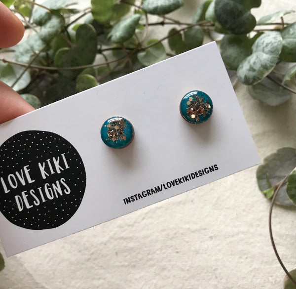 ROUND Teal Resin Earrings /Statement Wooden Earrings/Gold Glitter