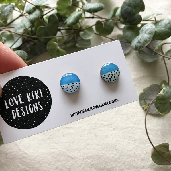 ROUND Resin Earrings / Small Wooden Earrings / Blue Polka Dot