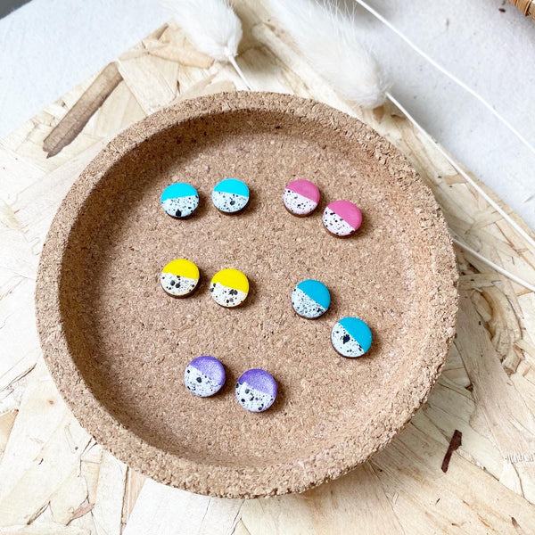 Paint Splashes Wooden Resin Earrings / Pick One