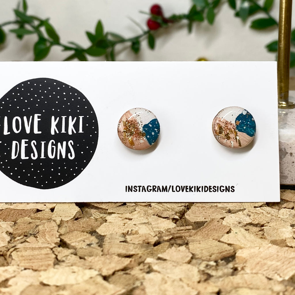 Resin Wooden Earrings / Teal and Gold Foil