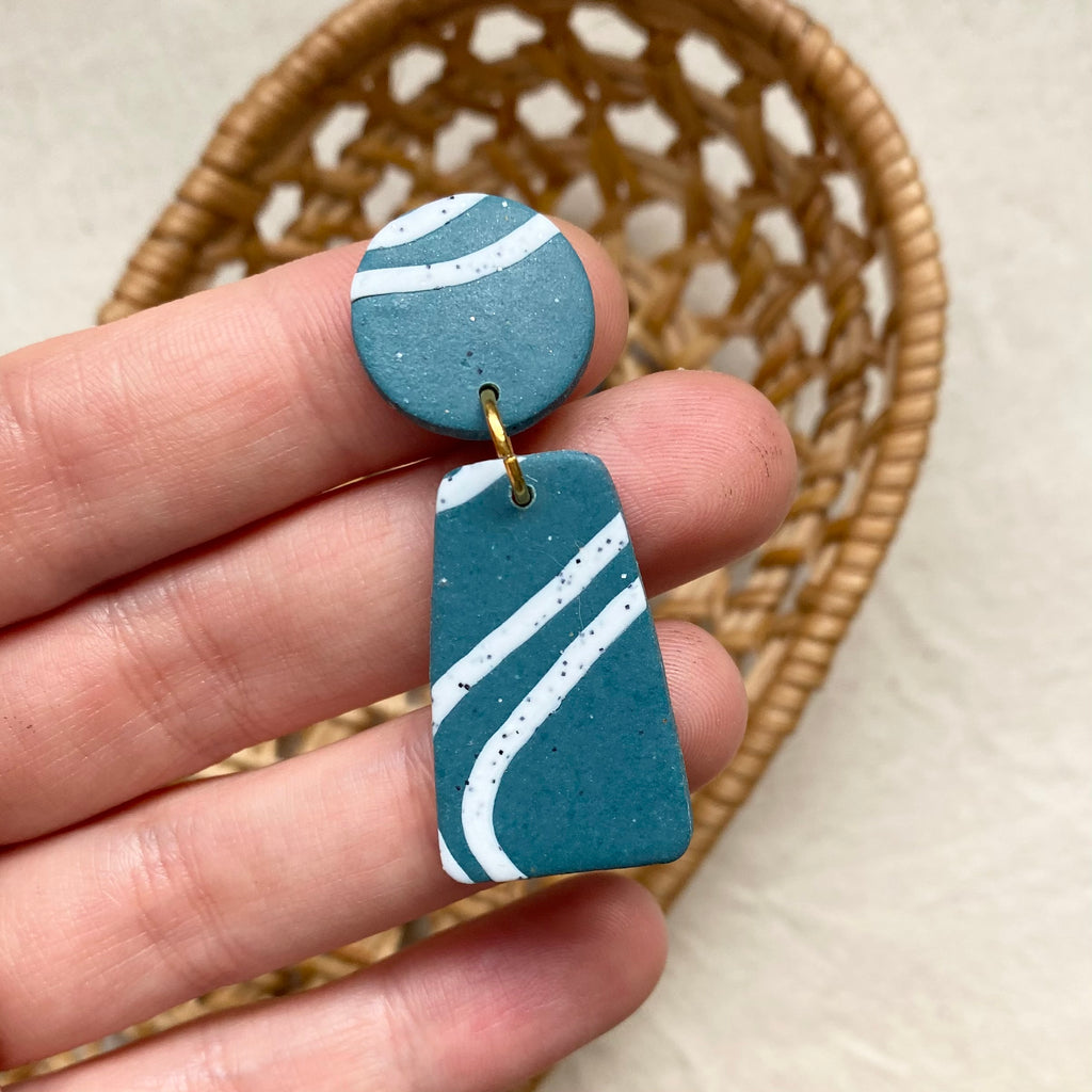 Dark Teal And White Squiggles Design Dangle Earrings