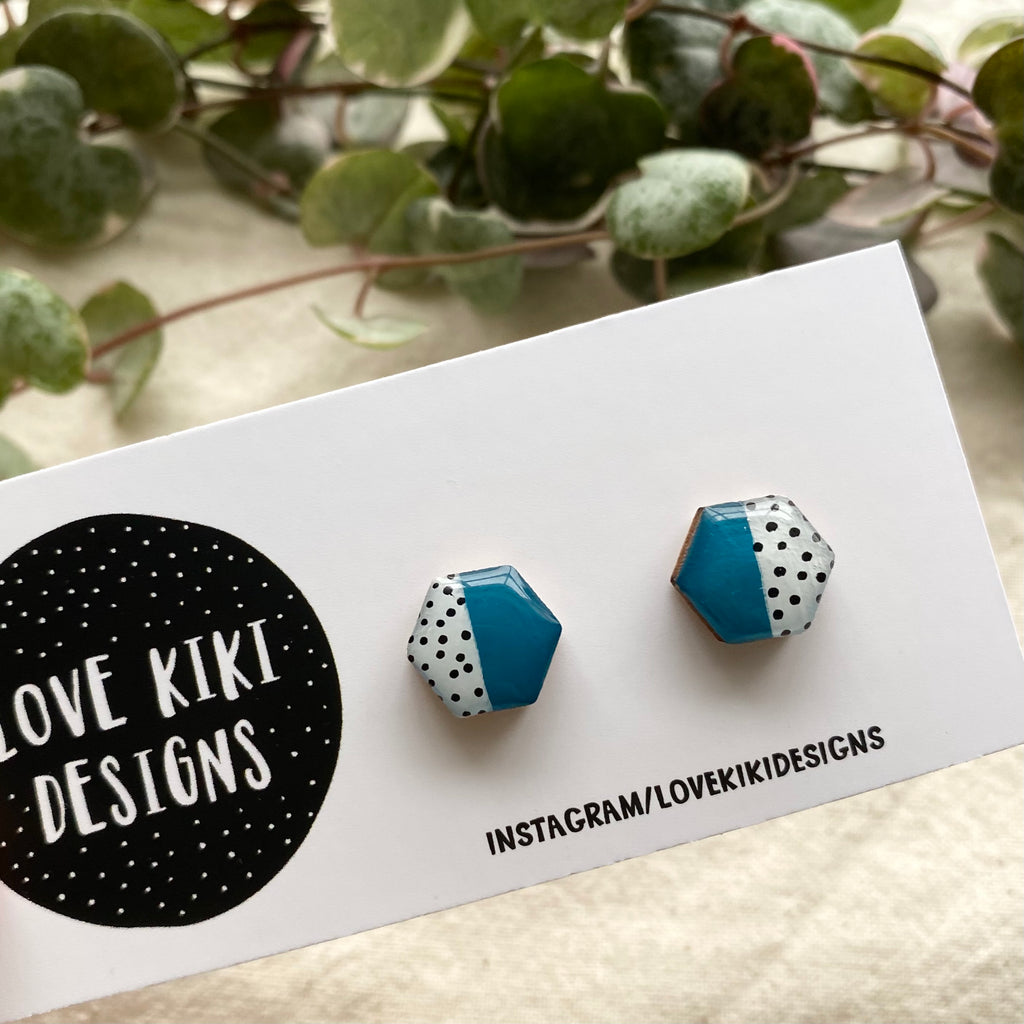 HEXAGON Resin Wooden Earrings / Teal and Polka Dot