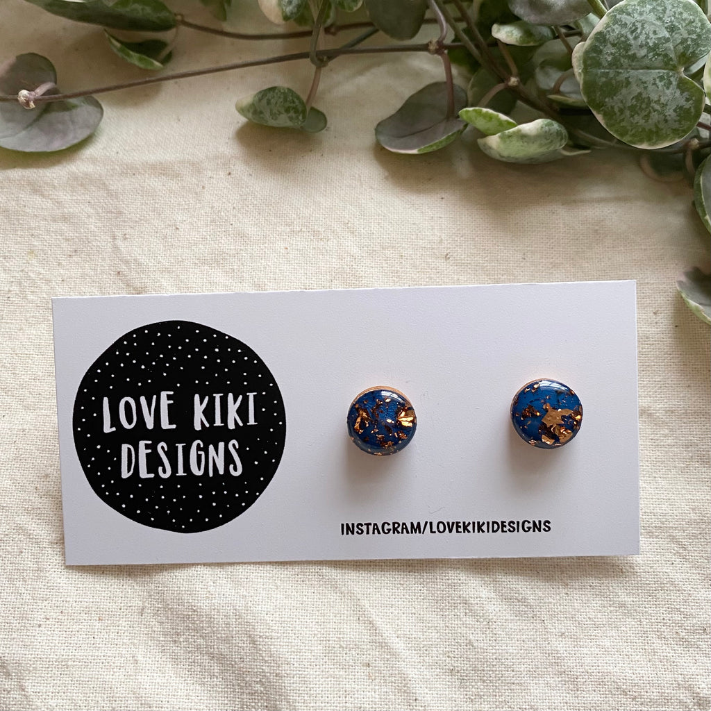 ROUND Resin Earrings / Navy and Copper