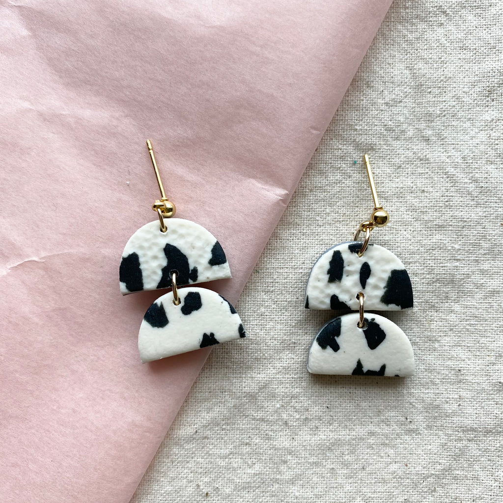 Small Dalmatian Design Dangle Earrings/ Black and White