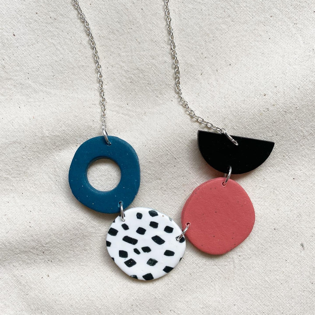 Marble Statement Necklace / Dalmatian Design Necklace