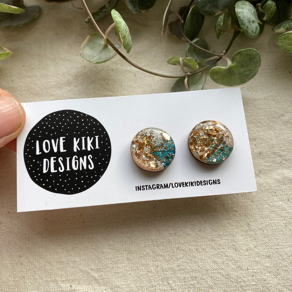 Sparkly Resin Earrings  / Teal and Gold