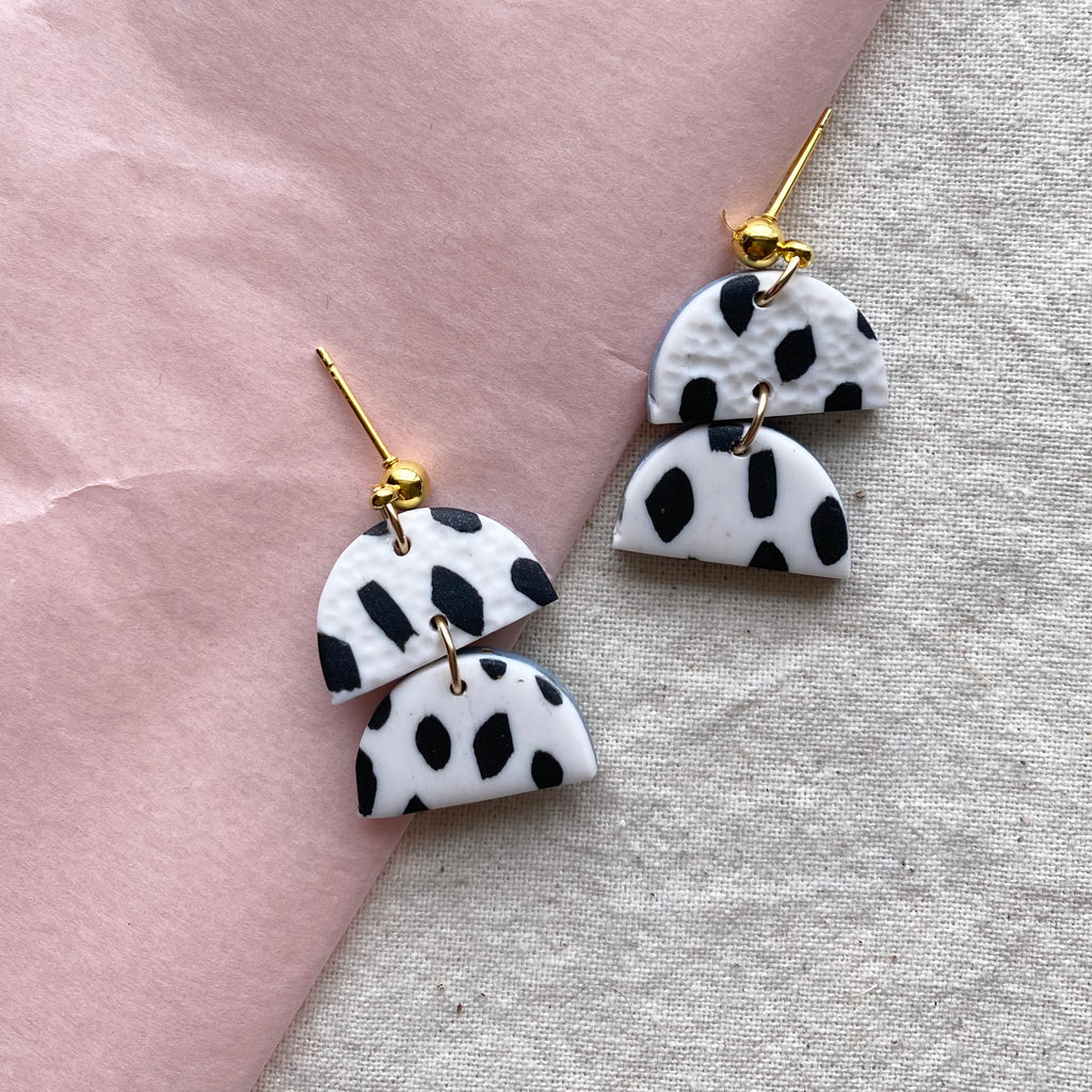 Small Confetti Dangle Earrings/ Black and White