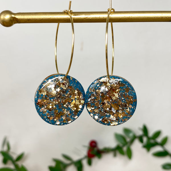 Copy of Sparkly Gold Foil and Turquoise Hoop Earrings