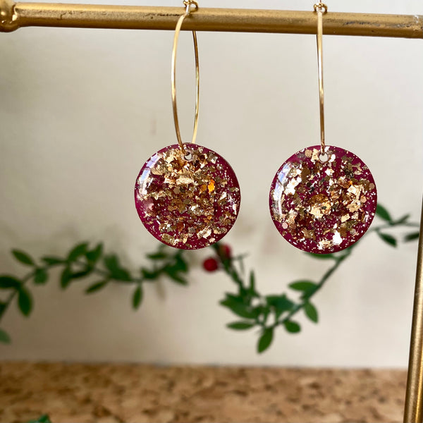 Sparkly Gold Foil and Pink Hoop Earrings