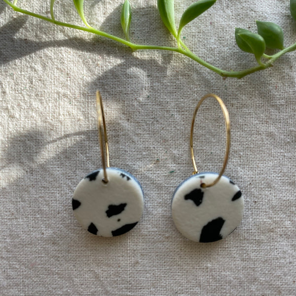 Dalmatian Print Small Hoop Earrings