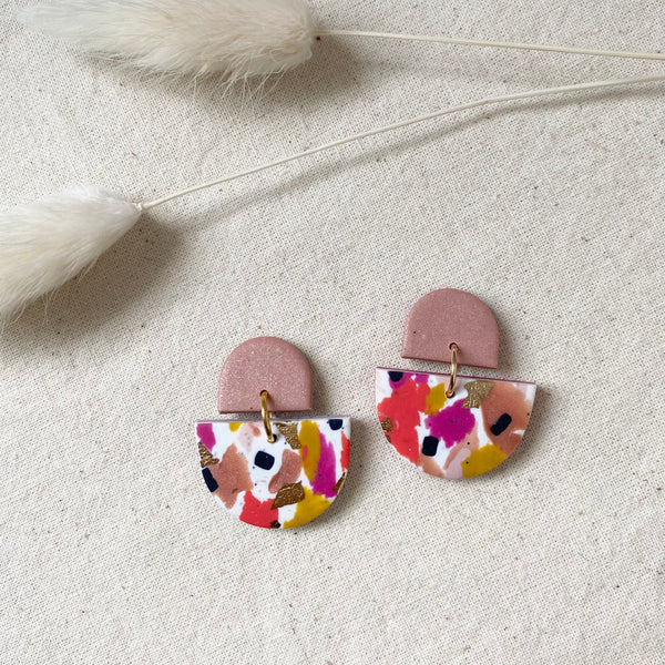 Bright and Colourful Terrazzo Design Dangle Earrings
