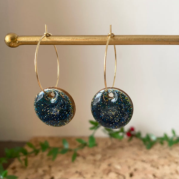 Sparkly Gold Foil and Hoop Earrings / Navy