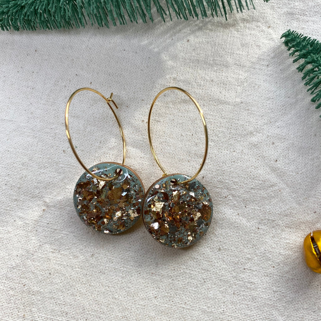 Sparkly Gold Foil and Sage Hoop Earrings