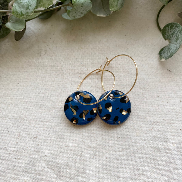 Navy Animal Print Hoop Earrings
