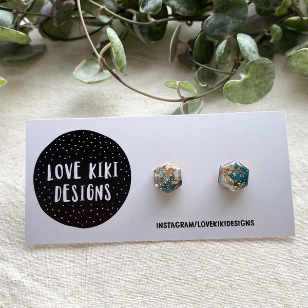 Hexagon Sparkly Resin Earrings  / Teal and Gold