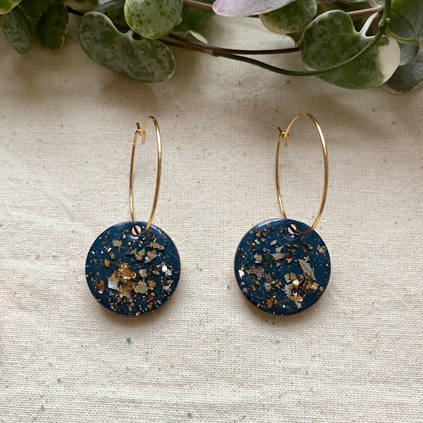 Sparkly Gold Foil and Navy Hoop Earrings