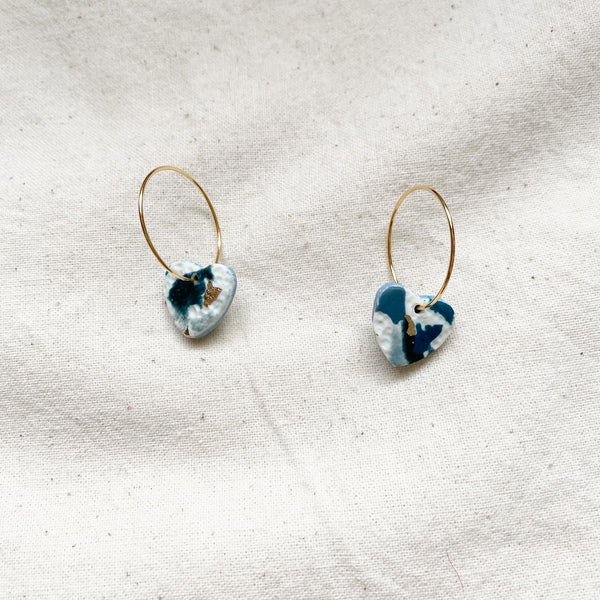Dark Teal Terrazzo Heart Design Hoop Earrings