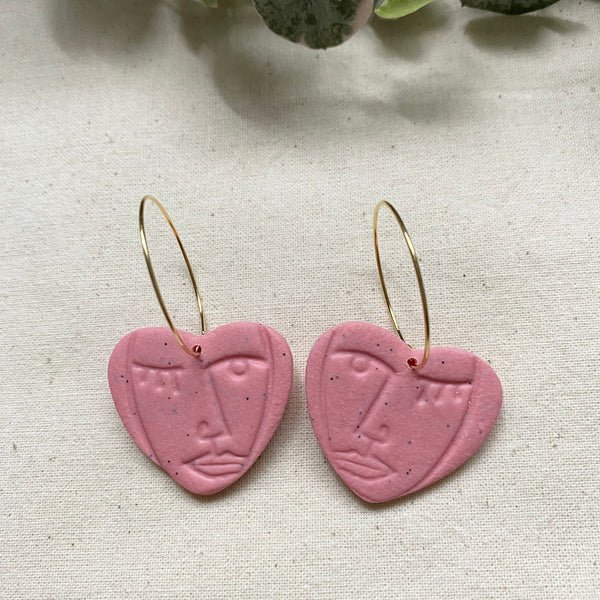 Lovers Hoop Earrings/ Abstract Faces