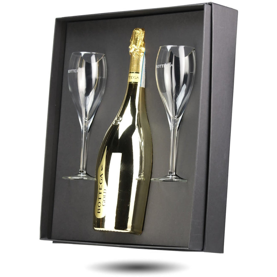 Bottega Gold 75cl Gift Box with 2 Glasses.