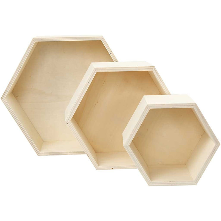Deco Baby Plywood Hexagonal Shelves - set of 3