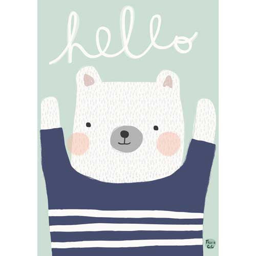 Petit Monkey Hello Polar Bear Print
