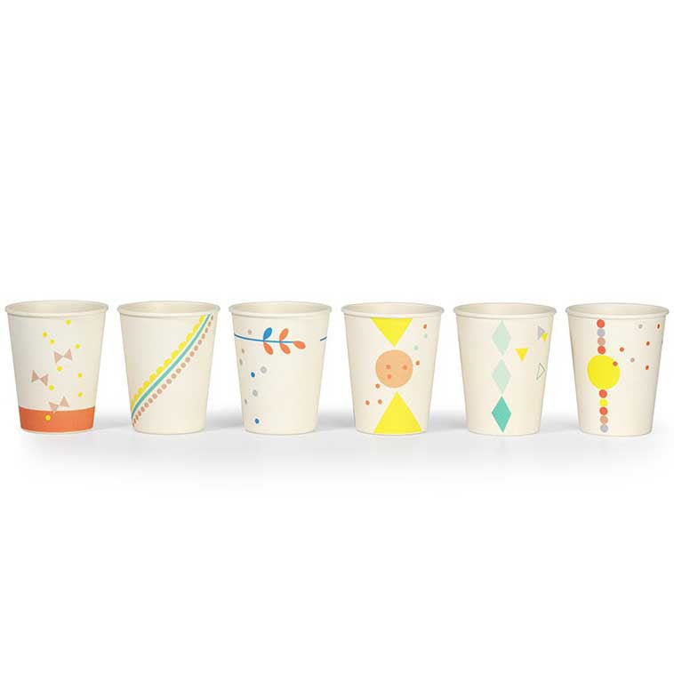Engel set of 6 printed bamboo cups