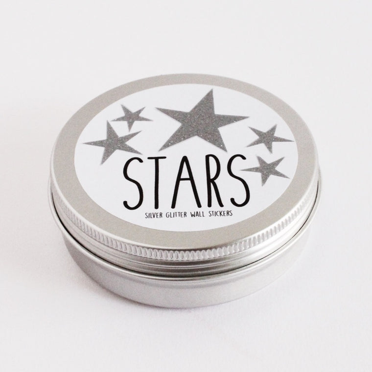 Ginger & Sparkle STARS Sparkly Silver Wall Stickers
