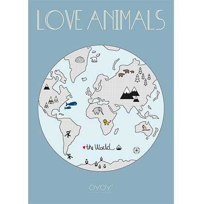 OYOY Love Animals World Print