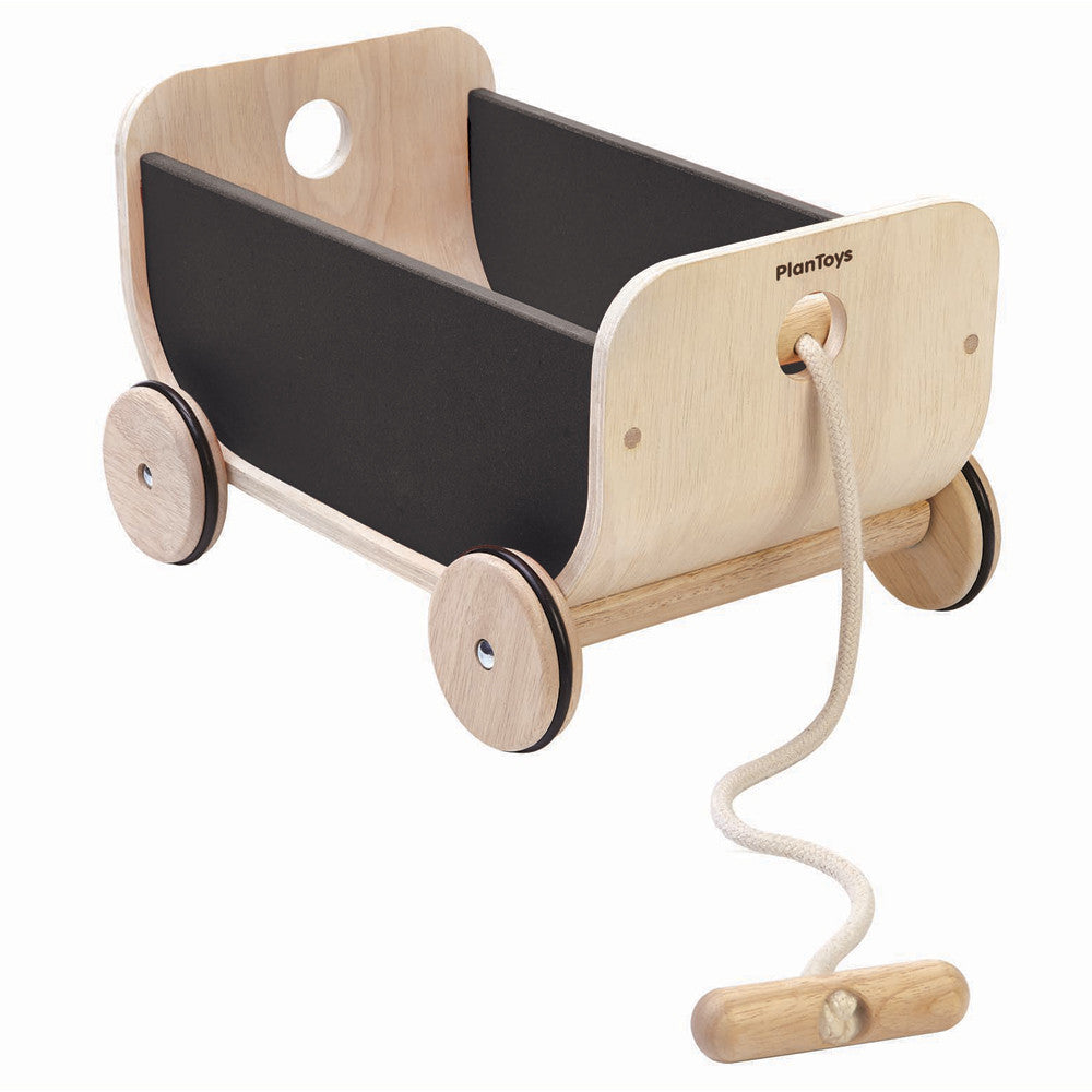 Plan Toys Plywood Pull Along Storage Cart - Black
