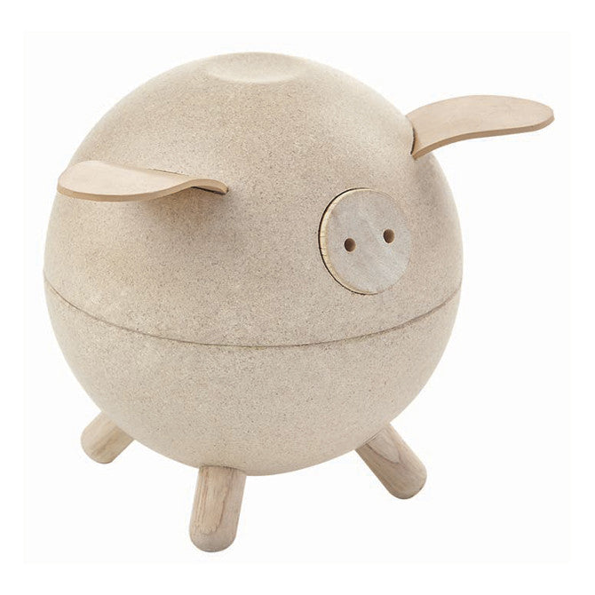 Plan Toys Wooden Piggy Bank - Natural