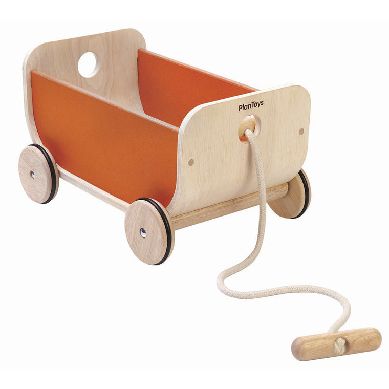 Plan Toys Plywood Pull Along Storage Cart - Orange