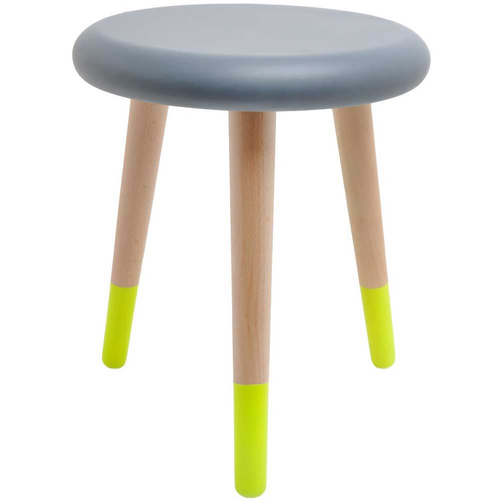 Rose in April 'Alice' Stool - grey / neon yellow