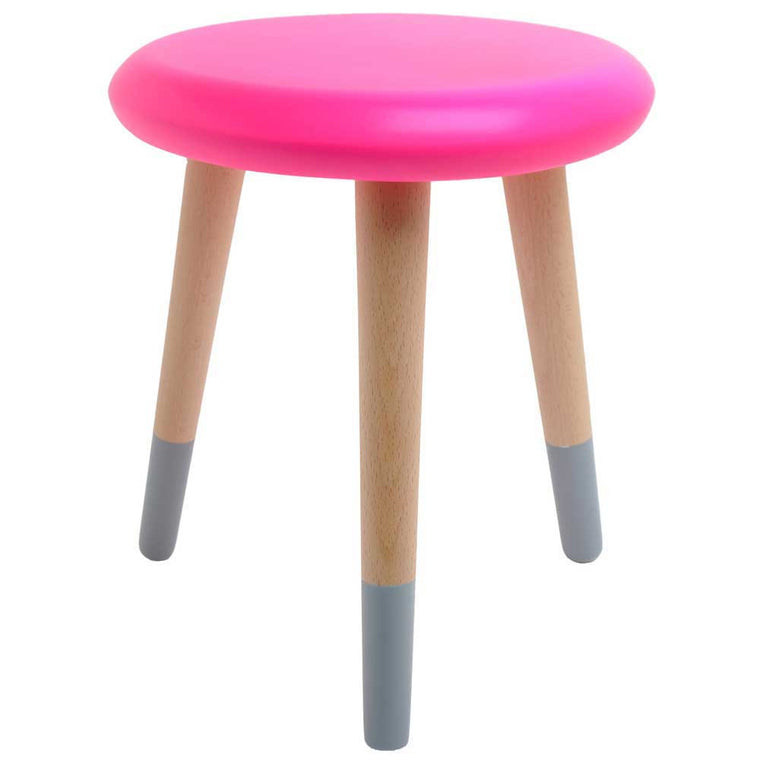 Rose in April 'Alice' Stool - neon pink / grey
