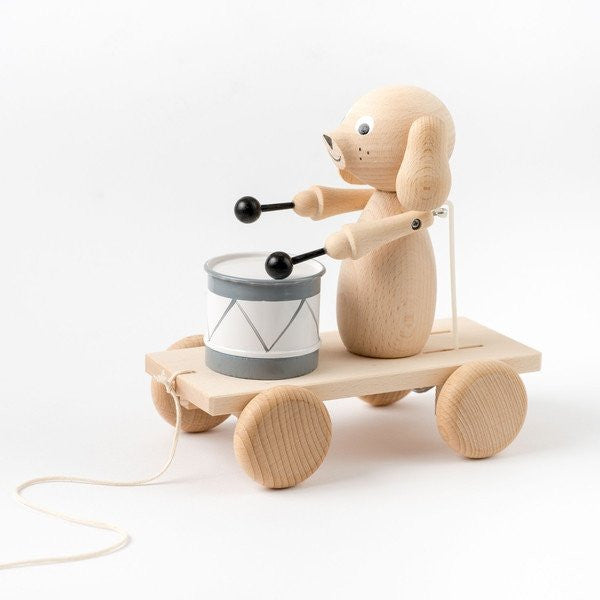 Arthur - Pull Along Wooden Dog With Drum