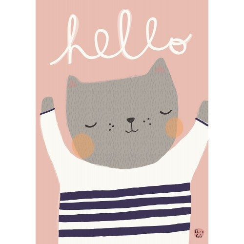 Petit Monkey Hello Cat Print