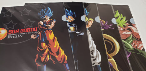 DRAGON BALL SUPER BROLY LIMITED CLEAR FILE SET (5 Files)