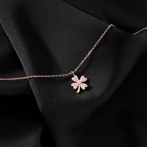 925 sterling silver lucky four-leaf clover necklace