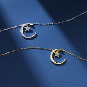 S925 Sterling Silver Star Moon Valentine's Day Necklace